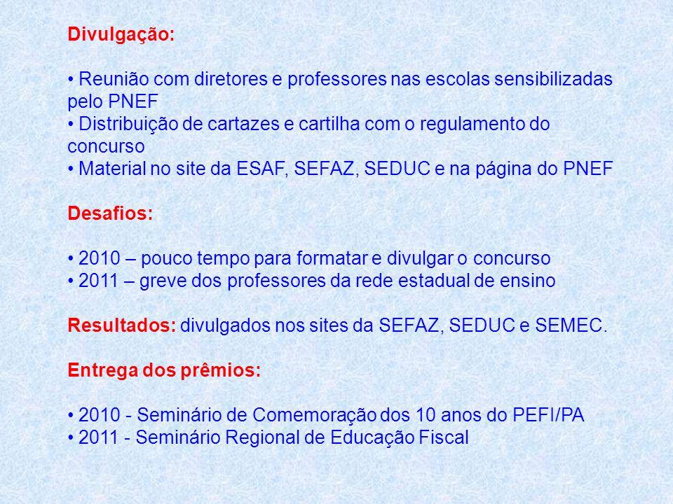 Divulgação: Reunião com diretores e professores nas escolas sensibilizadas pelo PNEF Distribuição de cartazes e cartilha com o regulamento do concurso