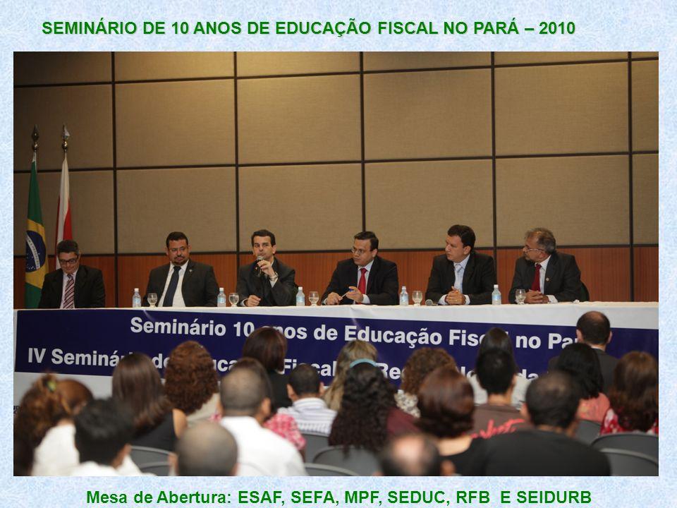 SEMINÁRIO DE 10 ANOS DE EDUCAÇÃO FISCAL NO PARÁ – 2010 Mesa de Abertura: ESAF, SEFA, MPF, SEDUC, RFB E SEIDURB