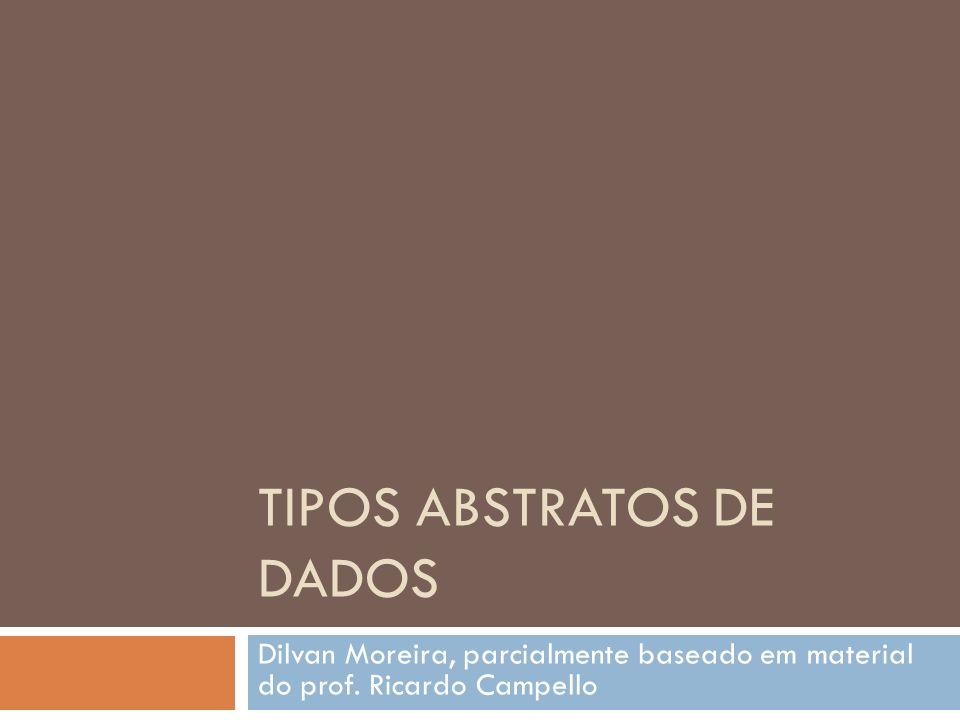 TIPOS ABSTRATOS DE DADOS Dilvan Moreira, parcialmente baseado em material do prof. Ricardo Campello