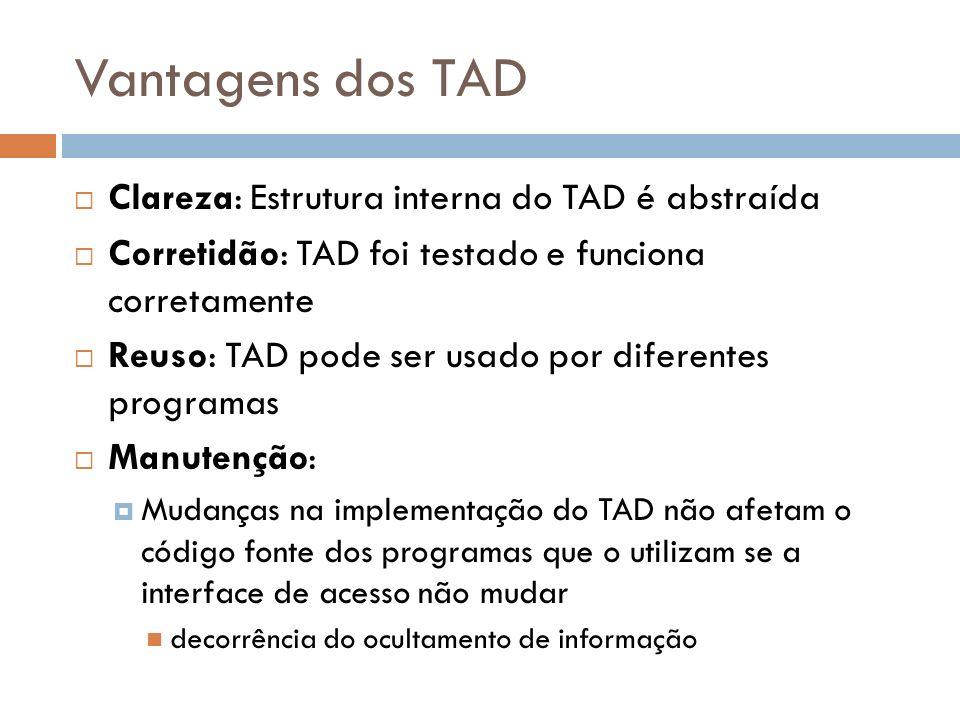 Vantagens dos TAD Clareza: Estrutura interna do TAD é abstraída Corretidão: TAD foi testado e funciona corretamente Reuso: TAD pode ser usado por dife