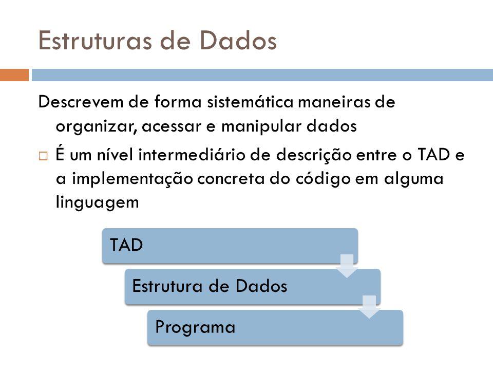 Estruturas de Dados Descrevem de forma sistemática maneiras de organizar, acessar e manipular dados É um nível intermediário de descrição entre o TAD