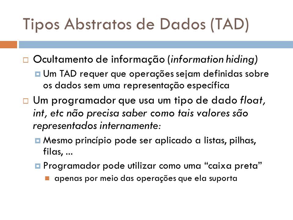 Programando com TAD Programador descreve o TAD em dois módulos separados: Interface de acesso (TAD conceitual): apresenta as operações e valores possíveis Implementação contém a representação da estrutura de dados e a implementação de cada operação