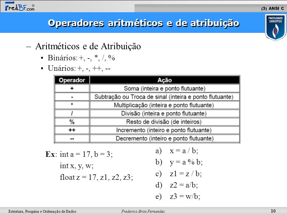 Frederico Brito Fernandes 10 Estrutura, Pesquisa e Ordenação de Dados –Aritméticos e de Atribuição Binários: +, -, *, /, % Unários: +, -, ++, -- Ex: i