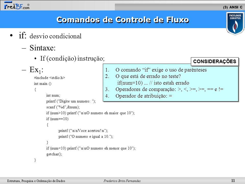 Frederico Brito Fernandes 11 Estrutura, Pesquisa e Ordenação de Dados if: desvio condicional –Sintaxe: If (condição) instrução; –Ex 1 : #include int m