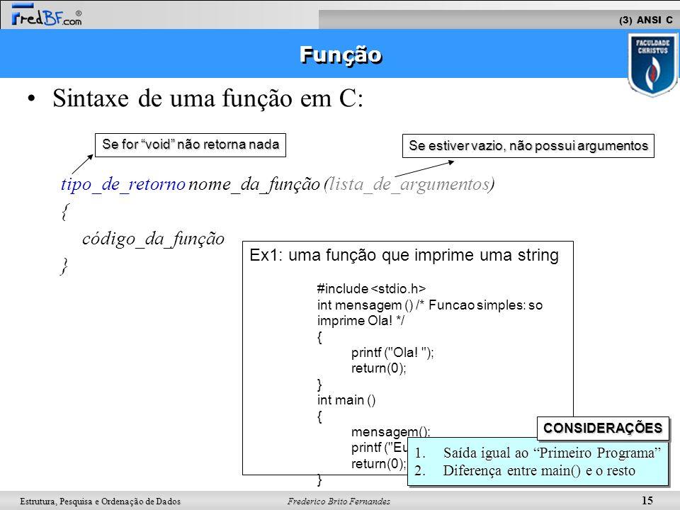 Frederico Brito Fernandes 15 Estrutura, Pesquisa e Ordenação de Dados Sintaxe de uma função em C: tipo_de_retorno nome_da_função (lista_de_argumentos)