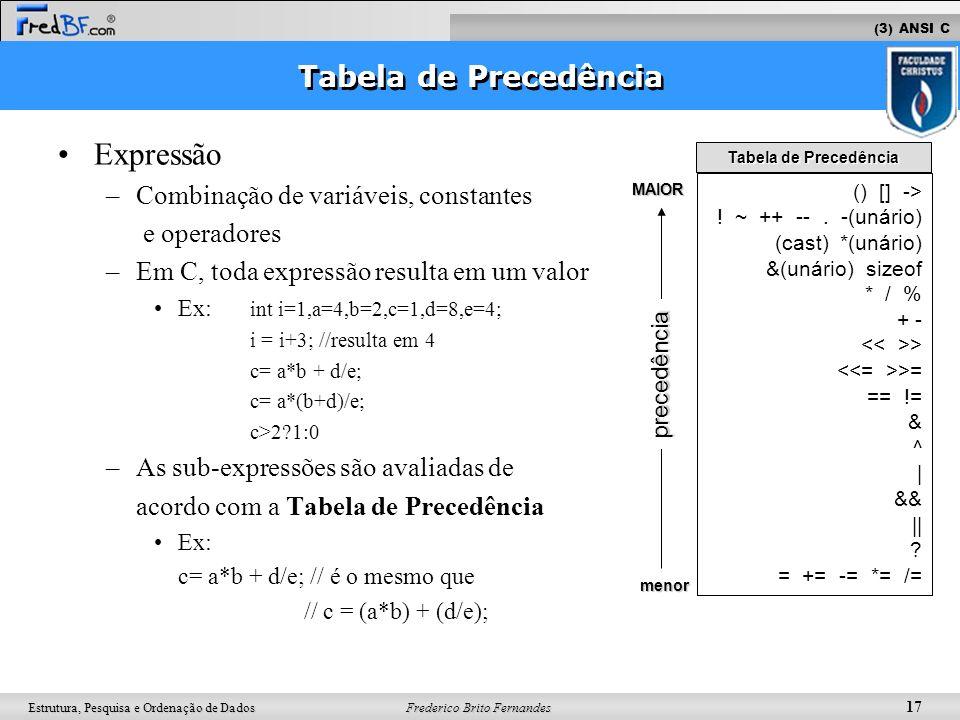 Frederico Brito Fernandes 17 Estrutura, Pesquisa e Ordenação de Dados Expressão –Combinação de variáveis, constantes e operadores –Em C, toda expressã