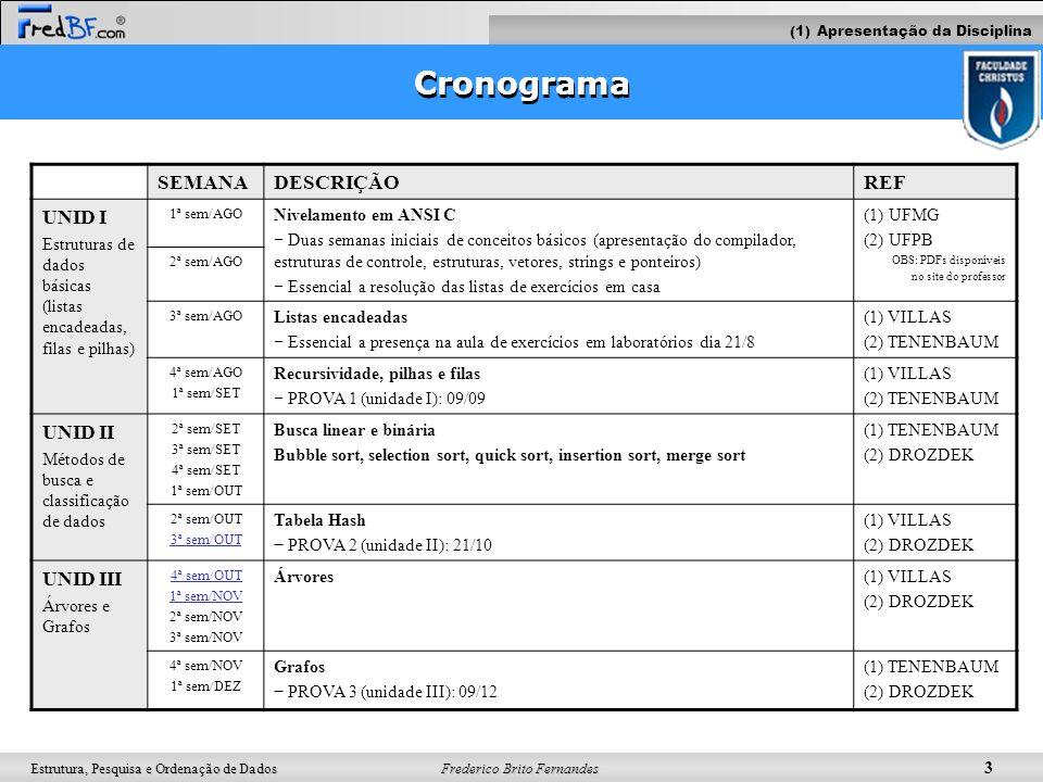 Frederico Brito Fernandes 3 Estrutura, Pesquisa e Ordenação de Dados Cronograma SEMANADESCRIÇÃOREF UNID I Estruturas de dados básicas (listas encadead