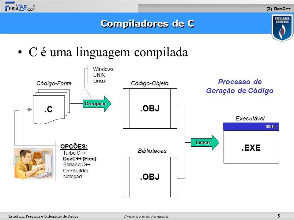 Frederico Brito Fernandes 5 Estrutura, Pesquisa e Ordenação de Dados Compiladores de C C é uma linguagem compilada.C Código-Fonte Compilar.EXE10010.OB
