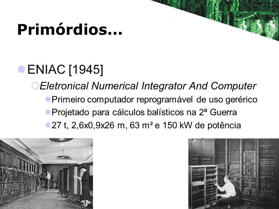 Primórdios... ENIAC [1945] Eletronical Numerical Integrator And Computer Primeiro computador reprogramável de uso gerérico Projetado para cálculos bal