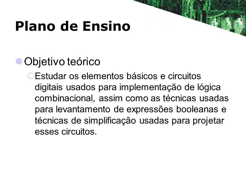 Plano de Ensino Objetivo teórico Estudar os elementos básicos e circuitos digitais usados para implementação de lógica combinacional, assim como as té