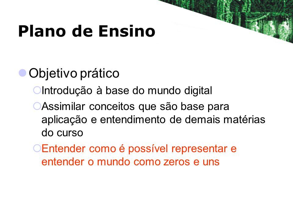 Plano de Ensino Objetivo prático Introdução à base do mundo digital Assimilar conceitos que são base para aplicação e entendimento de demais matérias