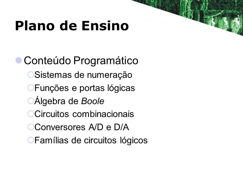 Plano de Ensino Conteúdo Programático Sistemas de numeração Funções e portas lógicas Álgebra de Boole Circuitos combinacionais Conversores A/D e D/A F