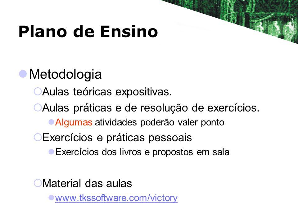 Plano de Ensino Metodologia Aulas teóricas expositivas. Aulas práticas e de resolução de exercícios. Algumas atividades poderão valer ponto Exercícios