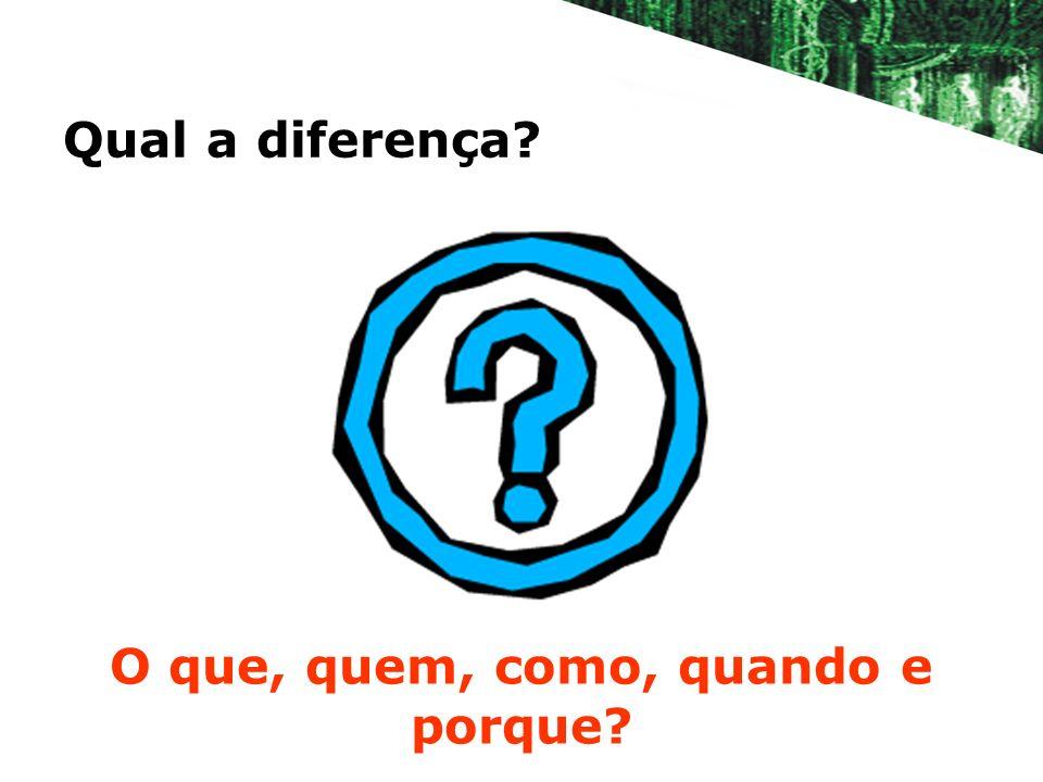 Qual a diferença? O que, quem, como, quando e porque?