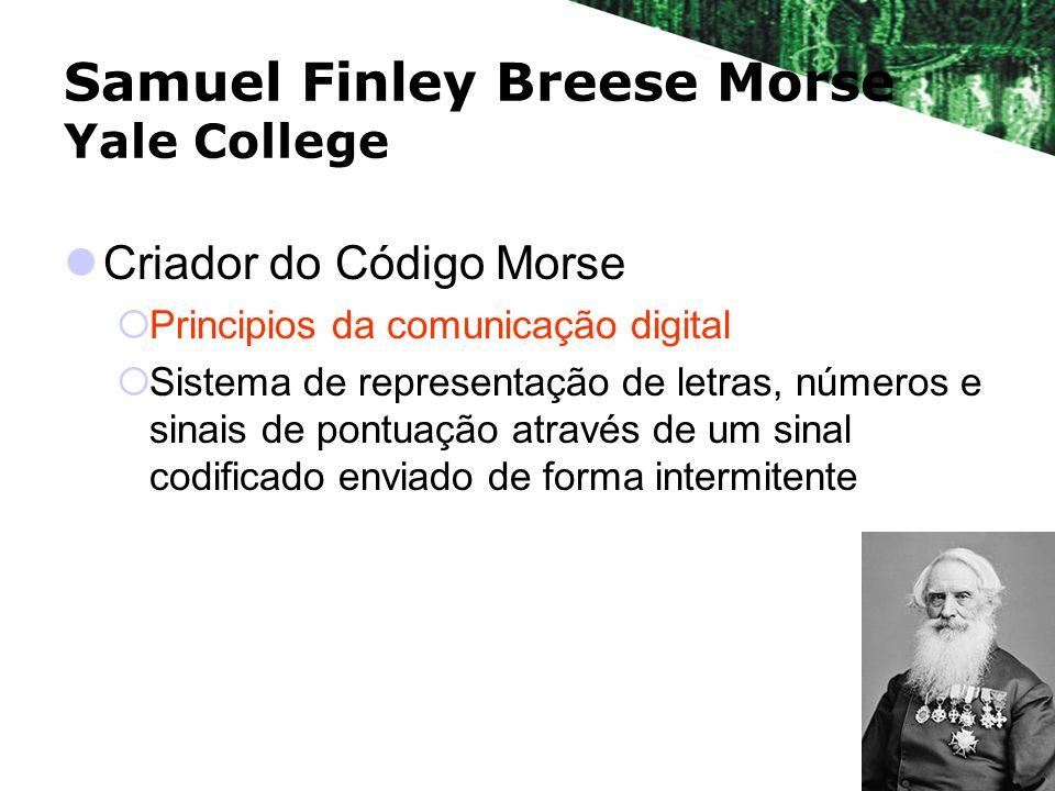 Samuel Finley Breese Morse Yale College Criador do Código Morse Principios da comunicação digital Sistema de representação de letras, números e sinais