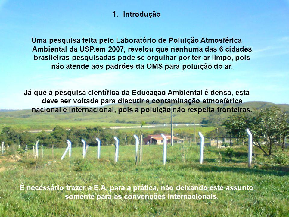 1.Introdução Uma pesquisa feita pelo Laboratório de Poluição Atmosférica Ambiental da USP,em 2007, revelou que nenhuma das 6 cidades brasileiras pesqu