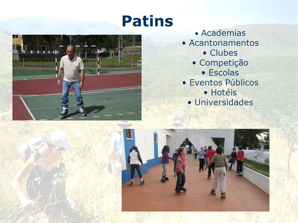 Patins Academias Acantonamentos Clubes Competição Escolas Eventos Públicos Hotéis Universidades