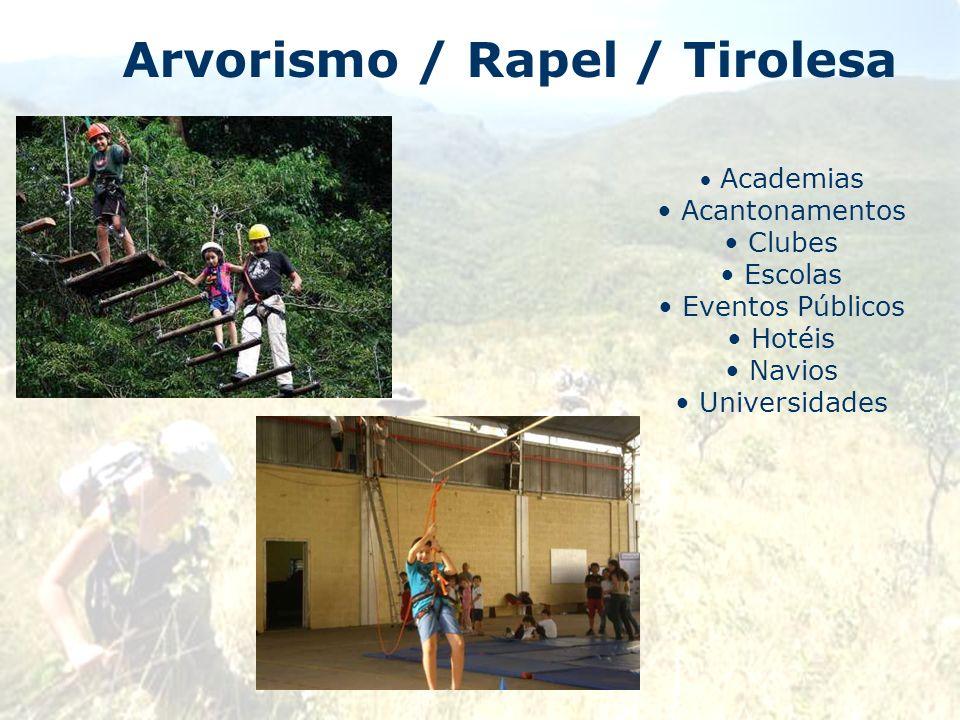Arvorismo / Rapel / Tirolesa Academias Acantonamentos Clubes Escolas Eventos Públicos Hotéis Navios Universidades