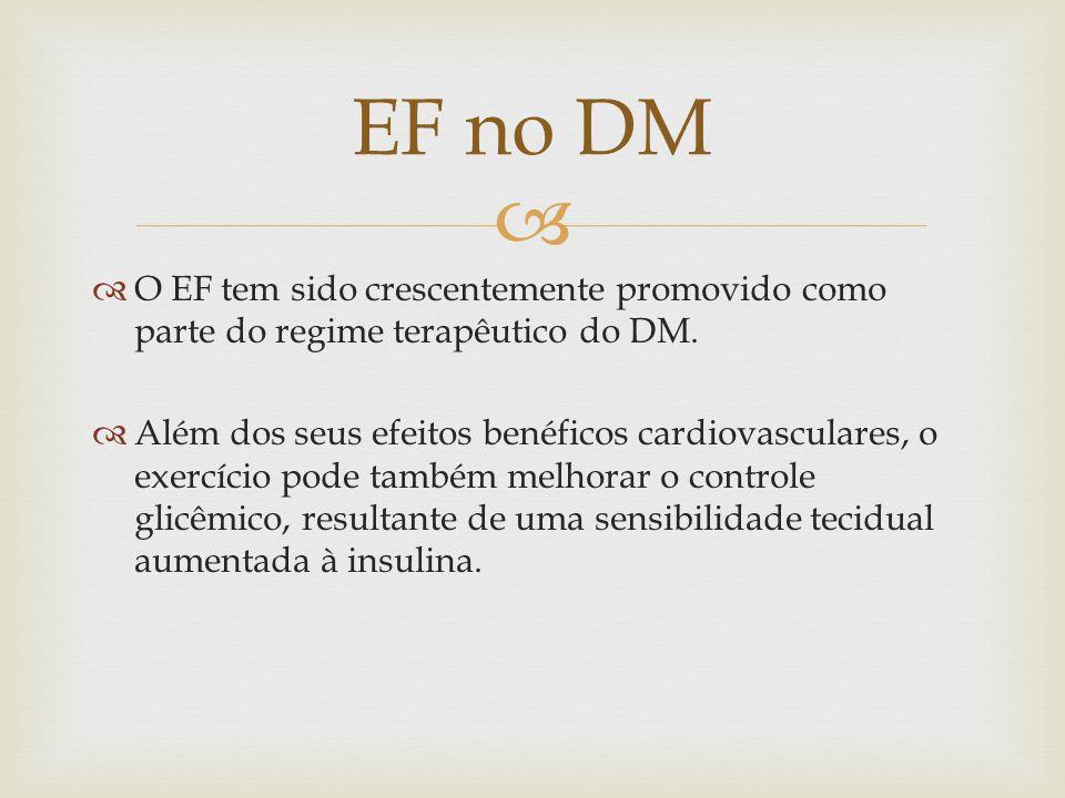 O EF tem sido crescentemente promovido como parte do regime terapêutico do DM. Além dos seus efeitos benéficos cardiovasculares, o exercício pode tamb