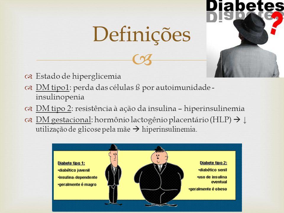 Estado de hiperglicemia DM tipo1: perda das células ß por autoimunidade - insulinopenia DM tipo 2: resistência à ação da insulina – hiperinsulinemia D