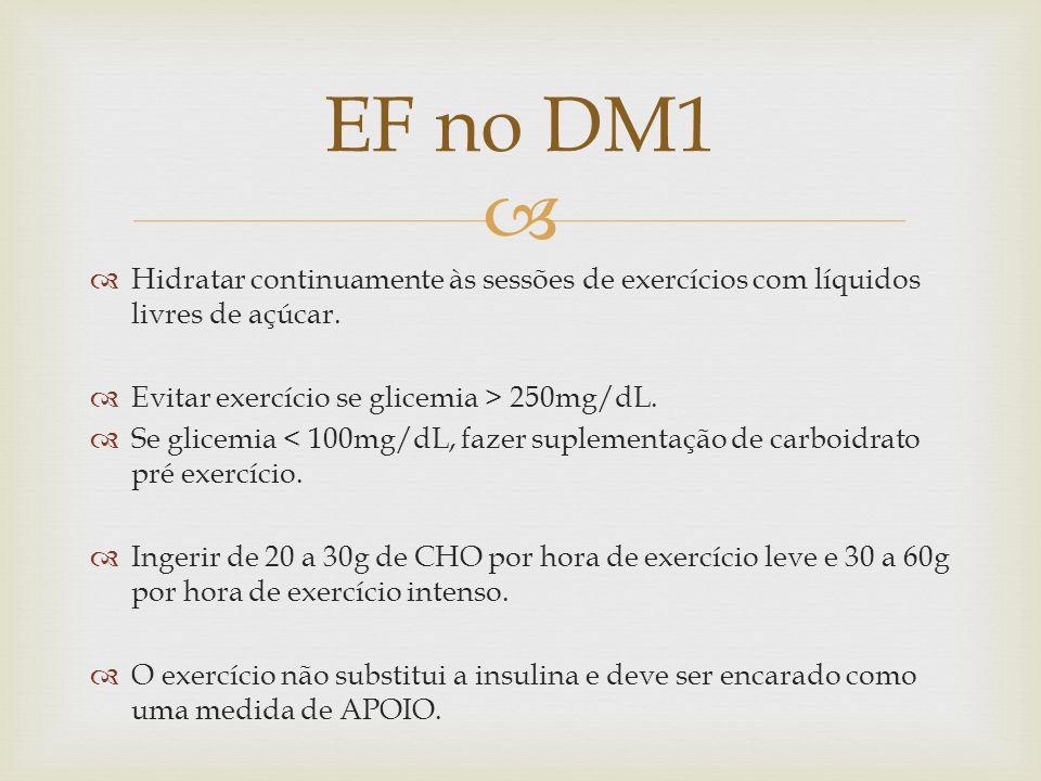 Hidratar continuamente às sessões de exercícios com líquidos livres de açúcar. Evitar exercício se glicemia > 250mg/dL. Se glicemia < 100mg/dL, fazer
