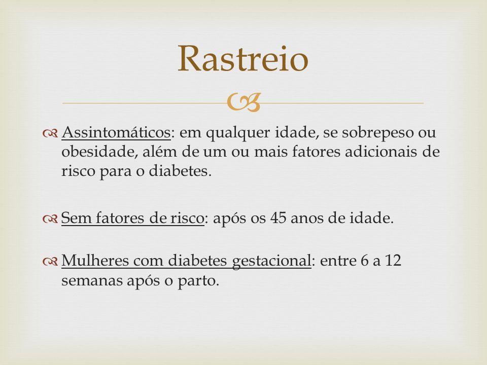 Assintomáticos: em qualquer idade, se sobrepeso ou obesidade, além de um ou mais fatores adicionais de risco para o diabetes. Sem fatores de risco: ap