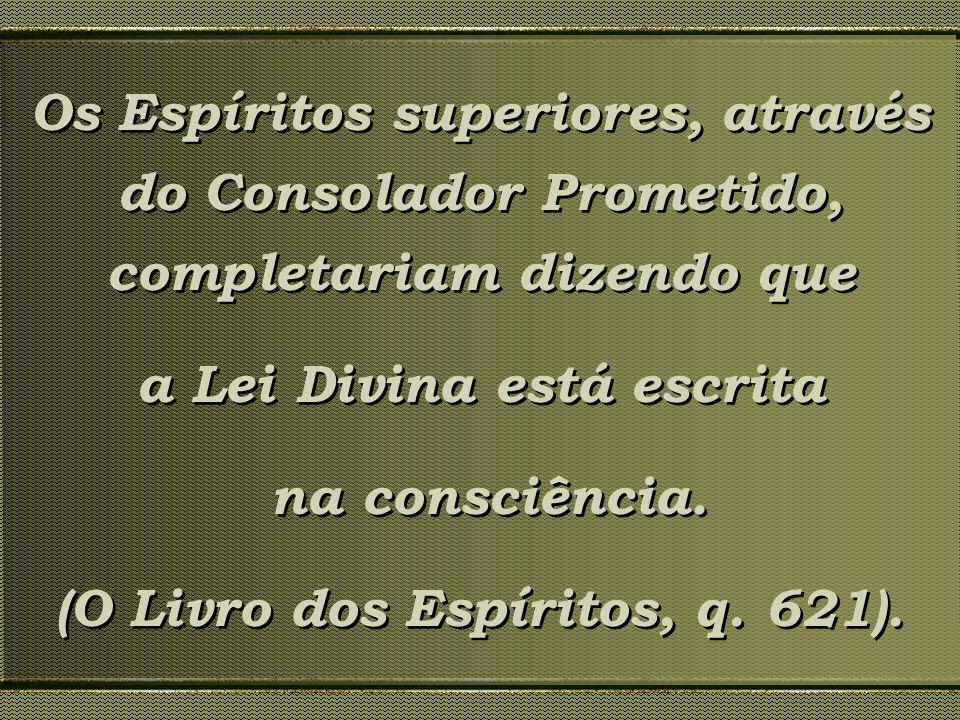 Os Espíritos superiores, através do Consolador Prometido, completariam dizendo que a Lei Divina está escrita na consciência. (O Livro dos Espíritos, q