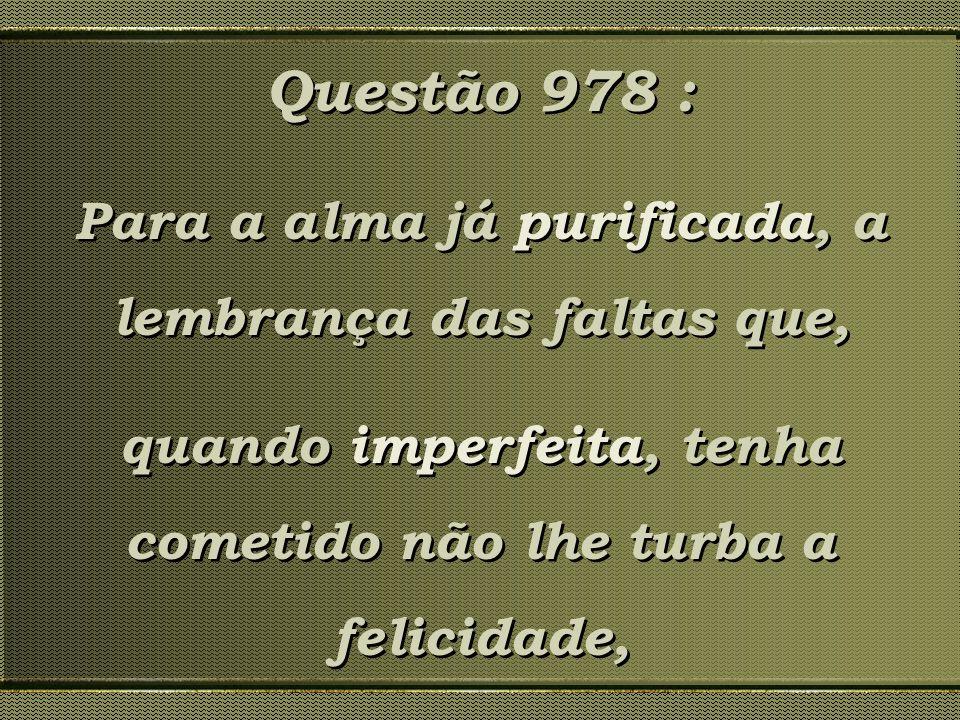 Questão 978 : Para a alma já purificada, a lembrança das faltas que, quando imperfeita, tenha cometido não lhe turba a felicidade, Questão 978 : Para