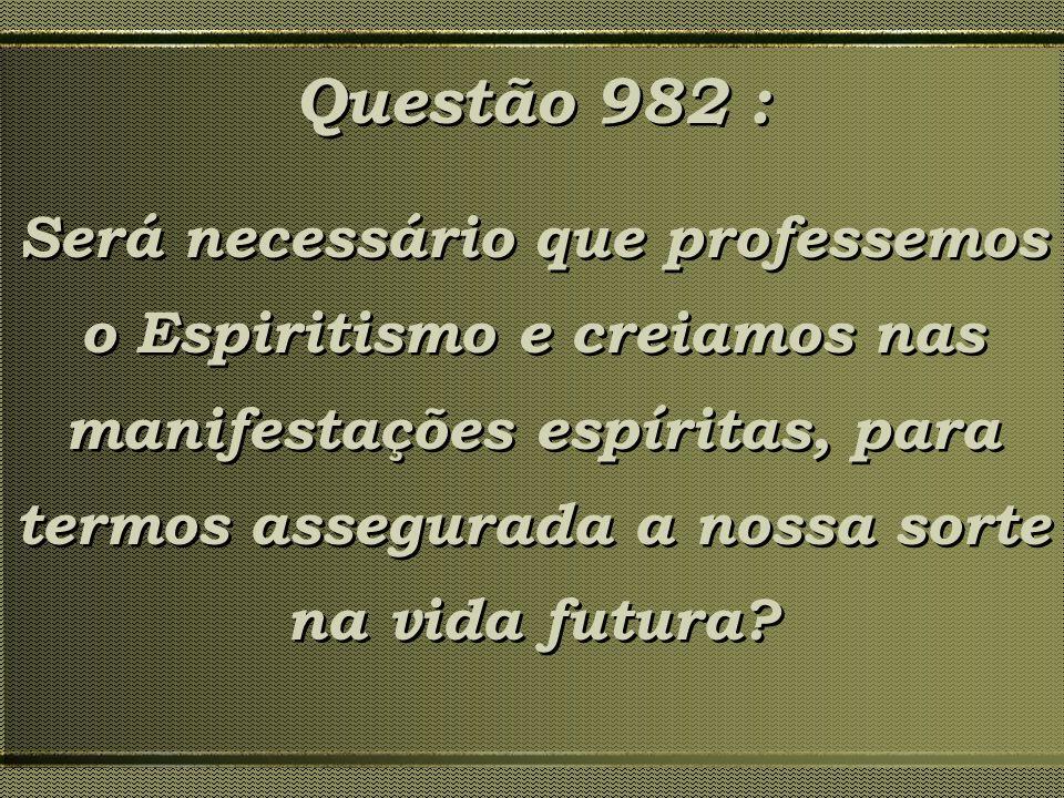 Questão 982 : Será necessário que professemos o Espiritismo e creiamos nas manifestações espíritas, para termos assegurada a nossa sorte na vida futur