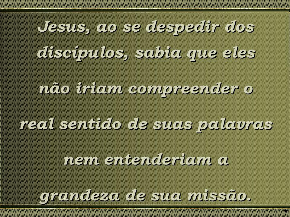 Jesus, ao se despedir dos discípulos, sabia que eles não iriam compreender o real sentido de suas palavras nem entenderiam a grandeza de sua missão. J