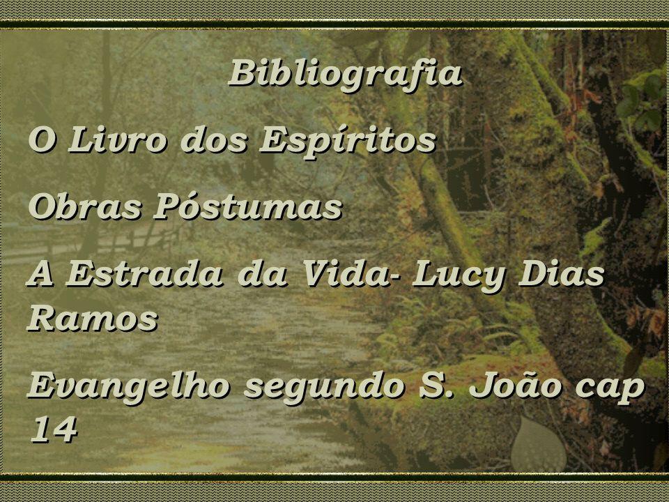 Bibliografia O Livro dos Espíritos Obras Póstumas A Estrada da Vida- Lucy Dias Ramos Evangelho segundo S. João cap 14 Bibliografia O Livro dos Espírit