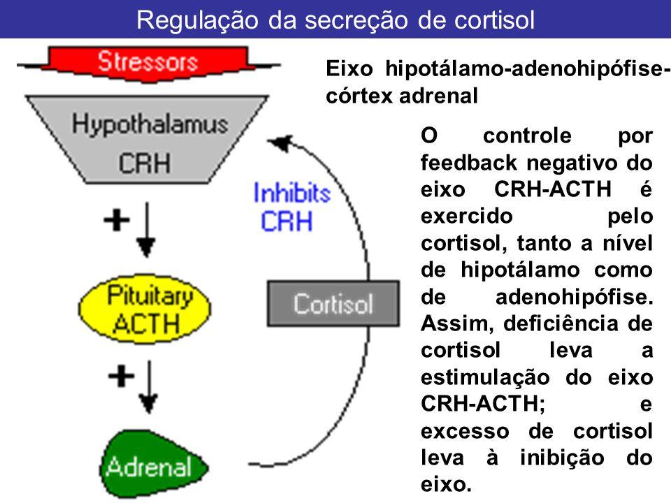 Regulação da secreção de cortisol. Eixo hipotálamo-adenohipófise- córtex adrenal O controle por feedback negativo do eixo CRH-ACTH é exercido pelo cor