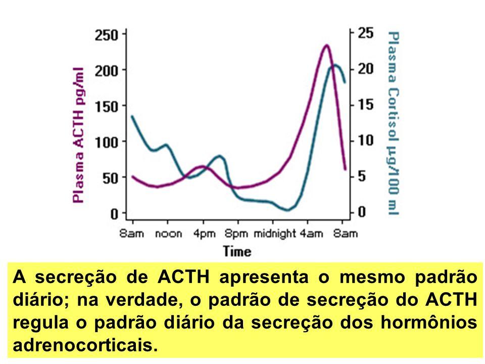 A secreção de ACTH apresenta o mesmo padrão diário; na verdade, o padrão de secreção do ACTH regula o padrão diário da secreção dos hormônios adrenoco