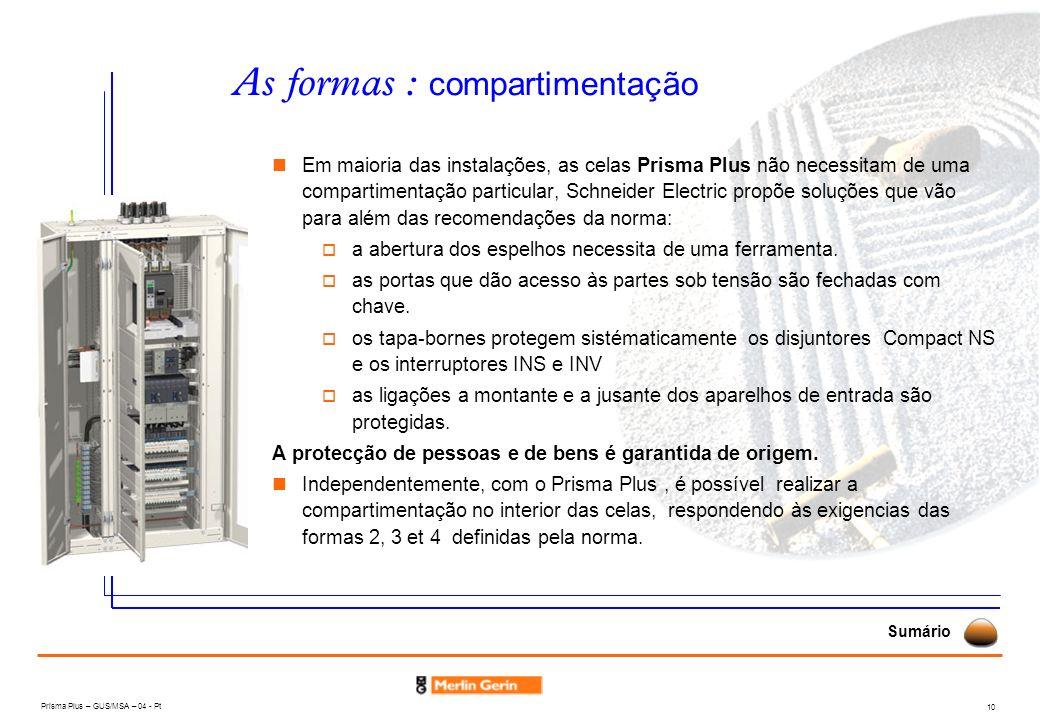 Prisma Plus – GUS/MSA – 04 - Pt 10 As formas : compartimentação Sumário Em maioria das instalações, as celas Prisma Plus não necessitam de uma compart