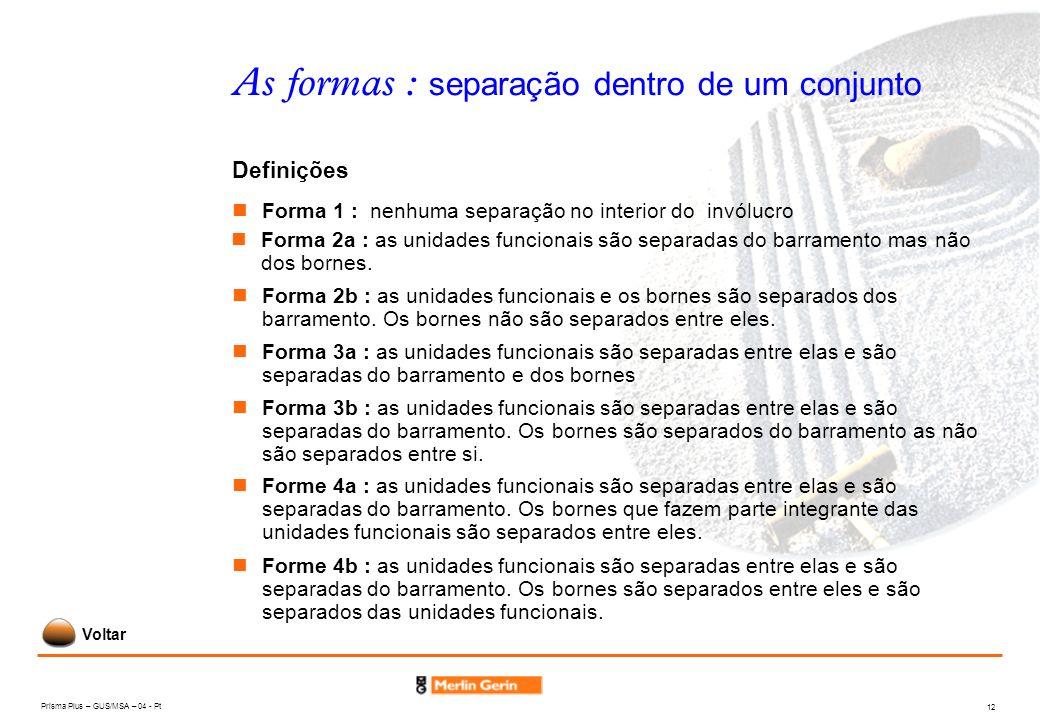 Prisma Plus – GUS/MSA – 04 - Pt 12 As formas : separação dentro de um conjunto Forma 1 : nenhuma separação no interior do invólucro Definições Forma 2
