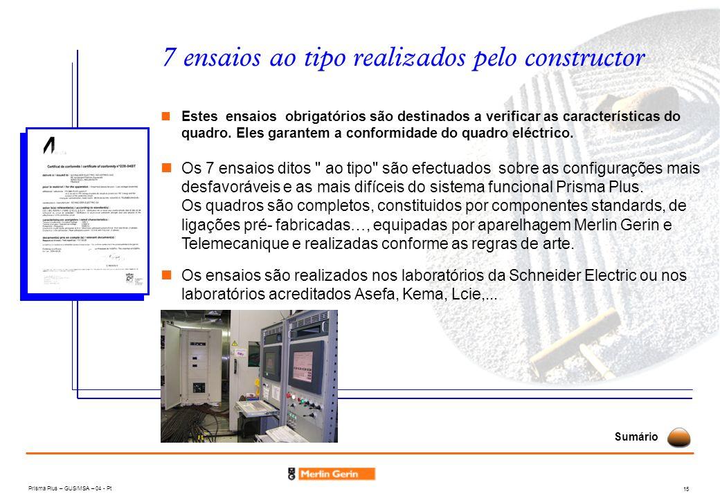 Prisma Plus – GUS/MSA – 04 - Pt 15 7 ensaios ao tipo realizados pelo constructor Estes ensaios obrigatórios são destinados a verificar as característi