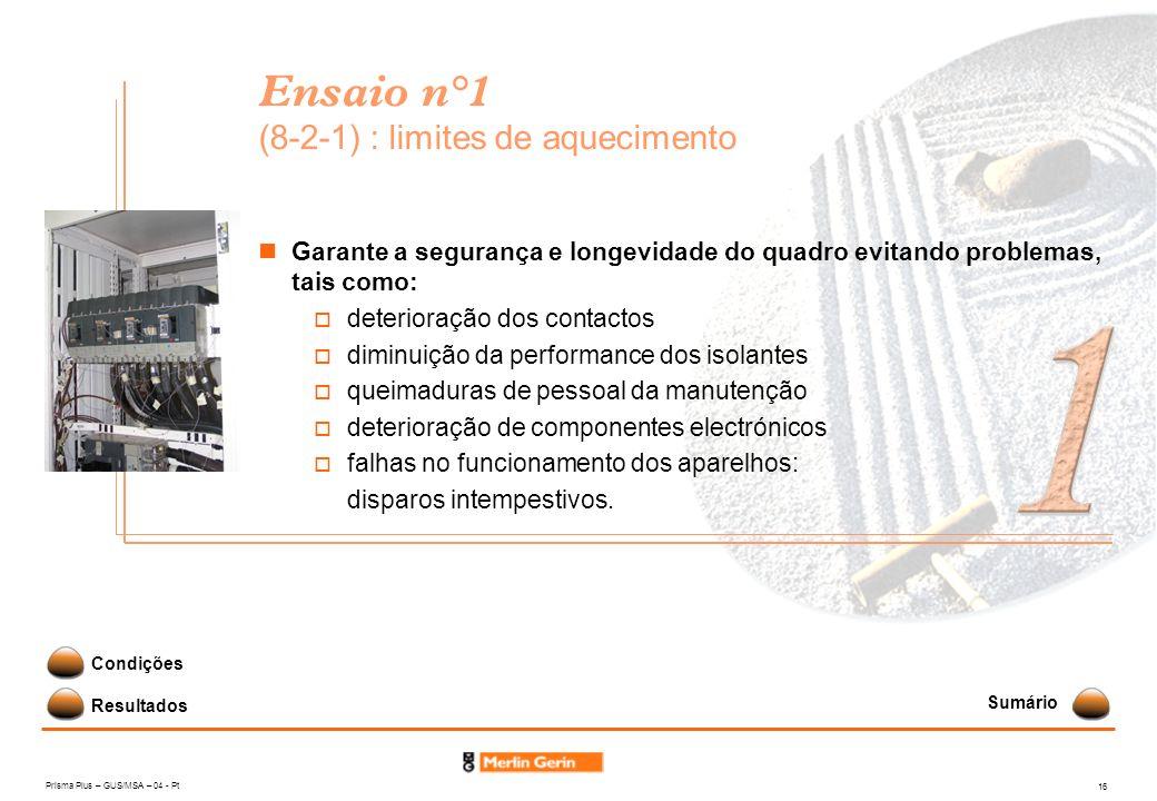 Prisma Plus – GUS/MSA – 04 - Pt 16 Ensaio n°1 (8-2-1) : limites de aquecimento Garante a segurança e longevidade do quadro evitando problemas, tais co