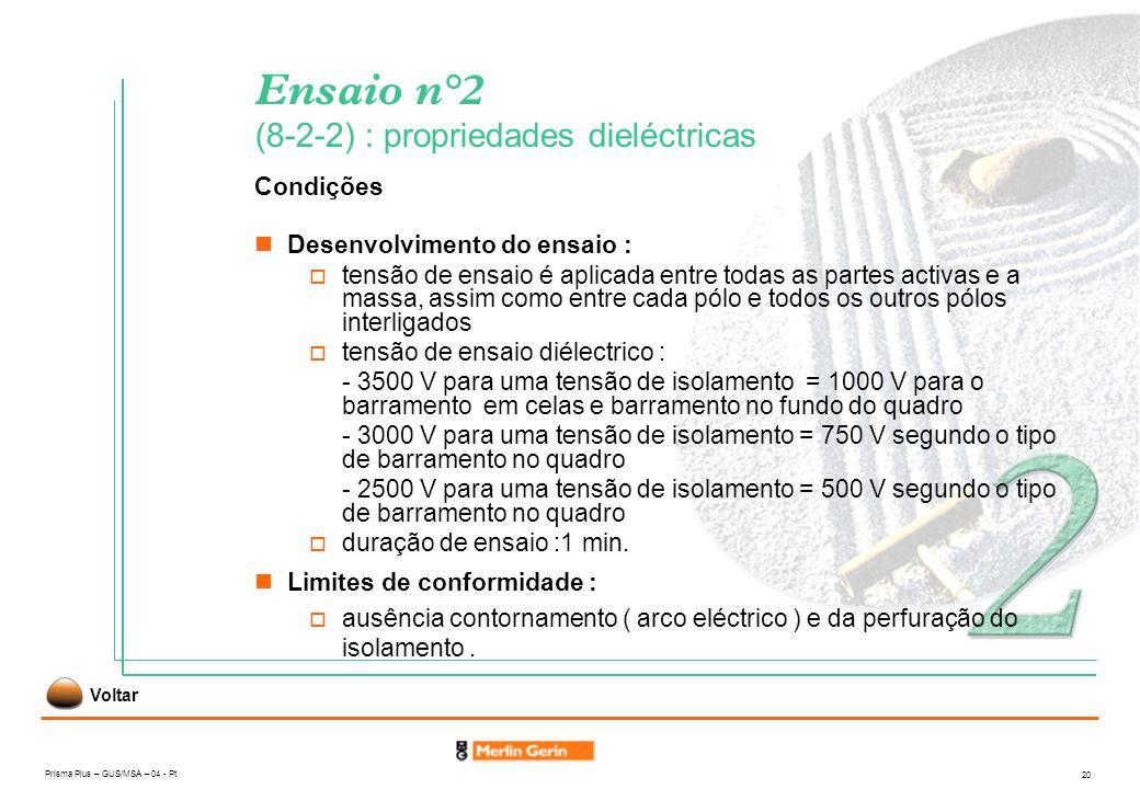Prisma Plus – GUS/MSA – 04 - Pt 20 Ensaio n°2 (8-2-2) : propriedades dieléctricas Condições Limites de conformidade : ausência contornamento ( arco el