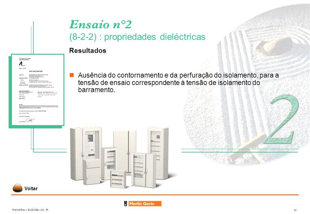 Prisma Plus – GUS/MSA – 04 - Pt 21 Ensaio n°2 (8-2-2) : propriedades dieléctricas Resultados Ausência do contornamento e da perfuração do isolamento,