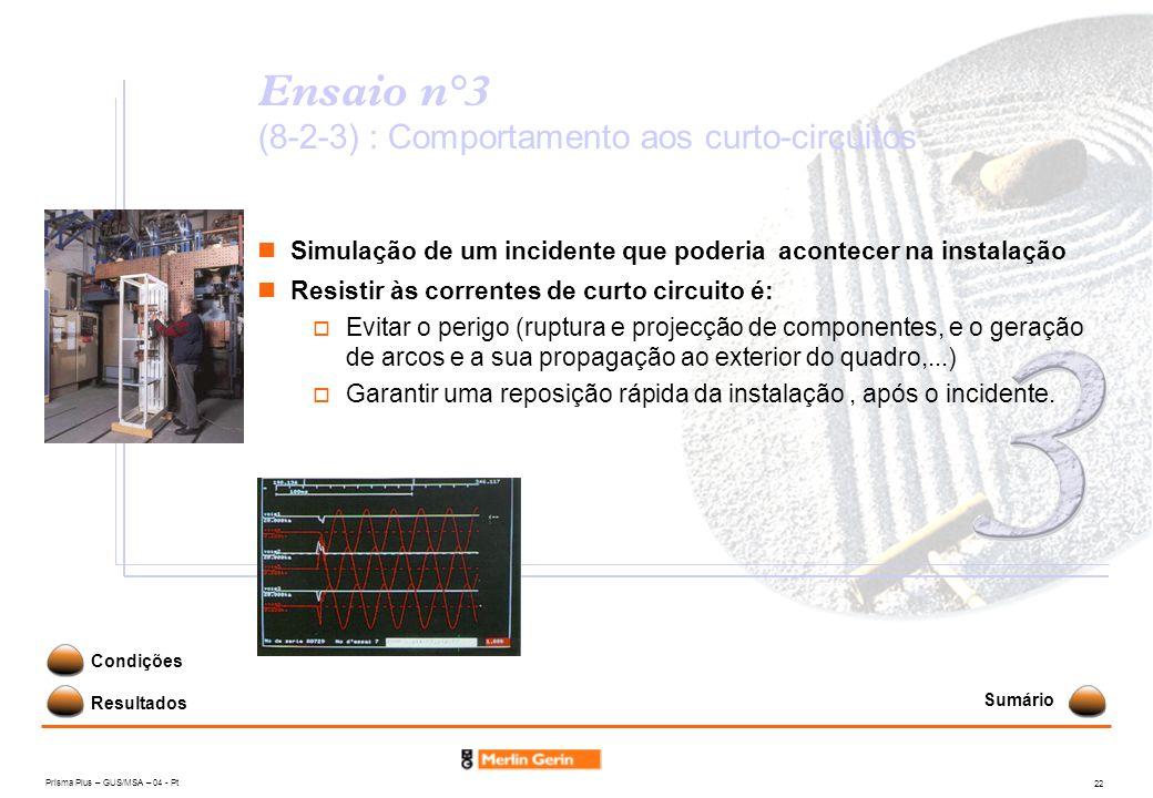Prisma Plus – GUS/MSA – 04 - Pt 22 Ensaio n°3 (8-2-3) : Comportamento aos curto-circuitos Simulação de um incidente que poderia acontecer na instalaçã