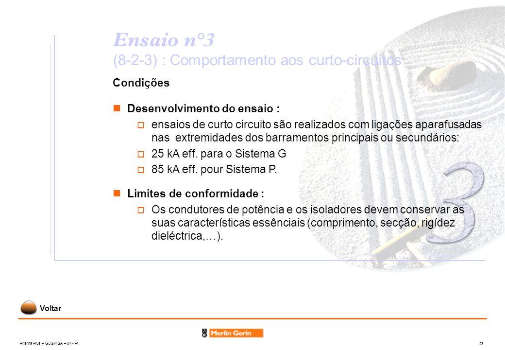 Prisma Plus – GUS/MSA – 04 - Pt 23 Ensaio n°3 (8-2-3) : Comportamento aos curto-circuitos Condições Limites de conformidade : Os condutores de potênci