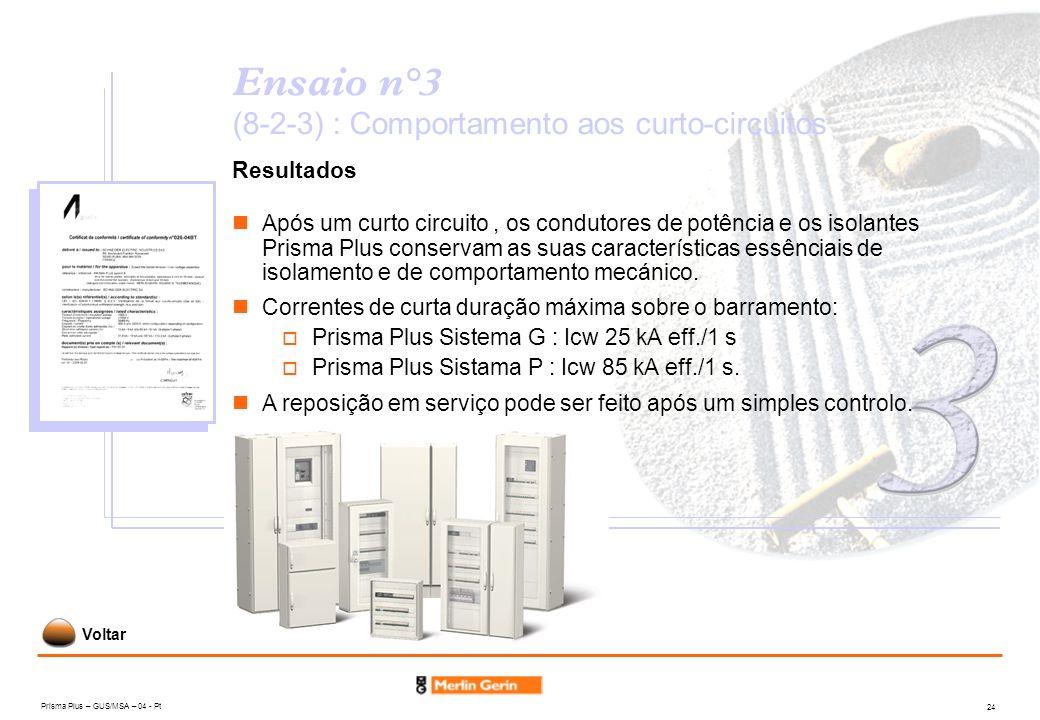 Prisma Plus – GUS/MSA – 04 - Pt 24 Ensaio n°3 (8-2-3) : Comportamento aos curto-circuitos Resultados Após um curto circuito, os condutores de potência