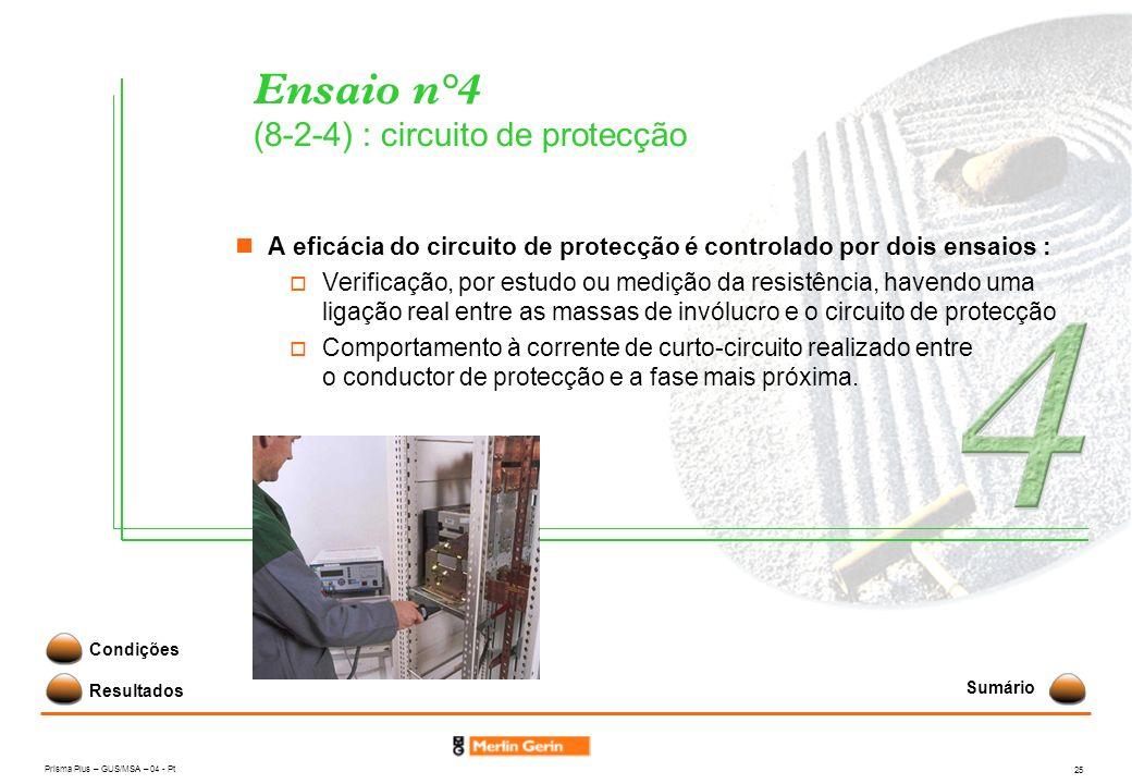 Prisma Plus – GUS/MSA – 04 - Pt 25 Ensaio n°4 (8-2-4) : circuito de protecção A eficácia do circuito de protecção é controlado por dois ensaios : Veri