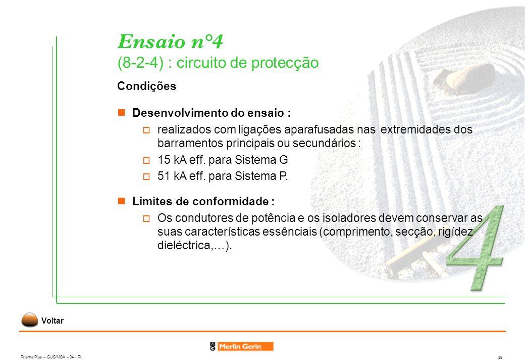 Prisma Plus – GUS/MSA – 04 - Pt 26 Ensaio n°4 (8-2-4) : circuito de protecção Condições Limites de conformidade : Os condutores de potência e os isola