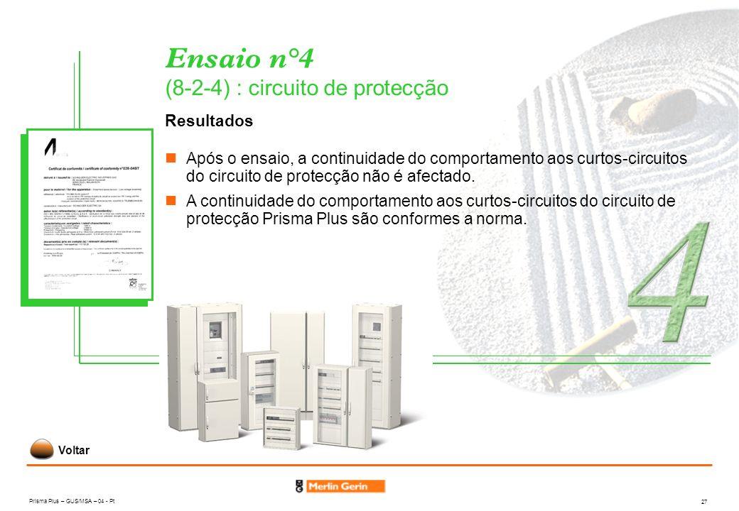 Prisma Plus – GUS/MSA – 04 - Pt 27 Ensaio n°4 (8-2-4) : circuito de protecção Resultados Após o ensaio, a continuidade do comportamento aos curtos-cir
