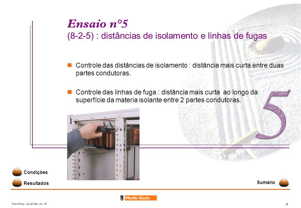 Prisma Plus – GUS/MSA – 04 - Pt 28 Ensaio n°5 (8-2-5) : distâncias de isolamento e linhas de fugas Resultados Condições Controle das distâncias de iso