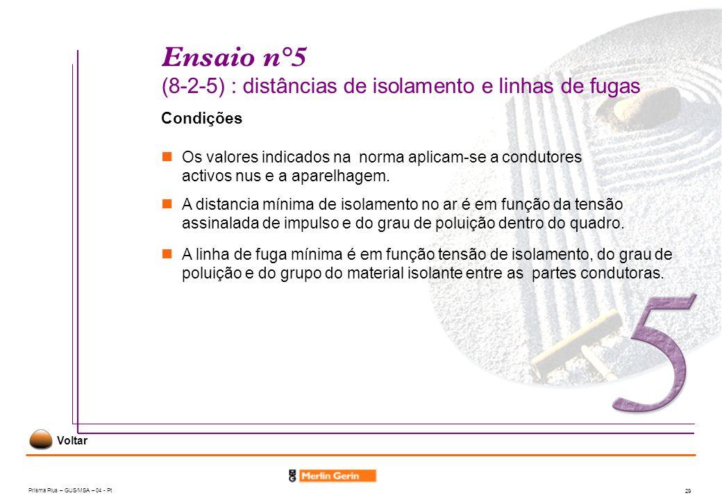 Prisma Plus – GUS/MSA – 04 - Pt 29 Ensaio n°5 (8-2-5) : distâncias de isolamento e linhas de fugas Condições A distancia mínima de isolamento no ar é