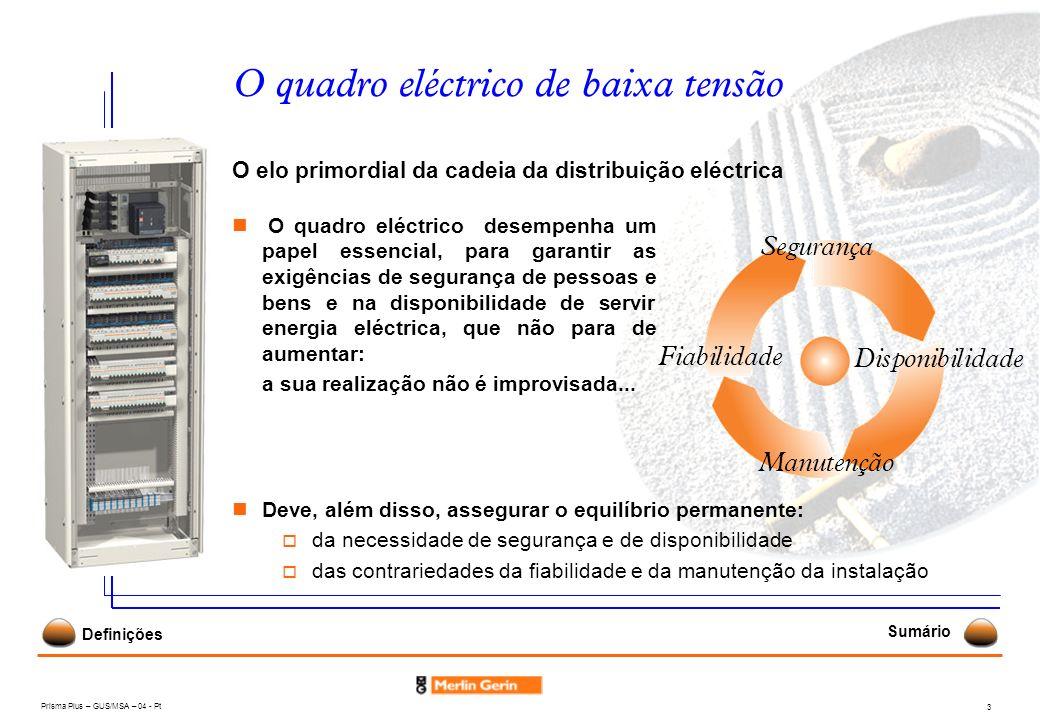 Prisma Plus – GUS/MSA – 04 - Pt 3 O quadro eléctrico de baixa tensão O elo primordial da cadeia da distribuição eléctrica Deve, além disso, assegurar