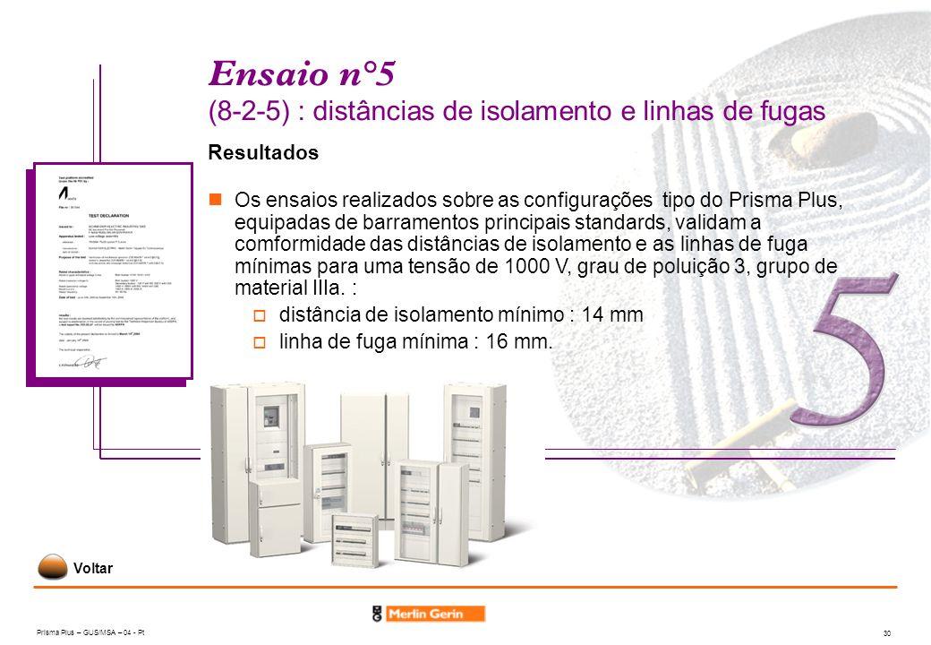 Prisma Plus – GUS/MSA – 04 - Pt 30 Ensaio n°5 (8-2-5) : distâncias de isolamento e linhas de fugas Resultados Os ensaios realizados sobre as configura
