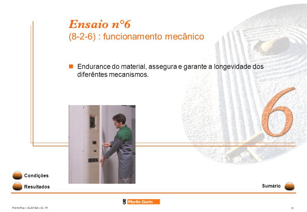 Prisma Plus – GUS/MSA – 04 - Pt 31 Ensaio n°6 (8-2-6) : funcionamento mecânico Resultados Condições Endurance do material, assegura e garante a longev